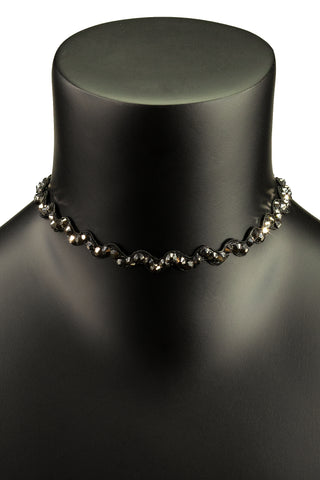 Crystal Zigzag Choker Necklace-Front View | SM Dance Fashion