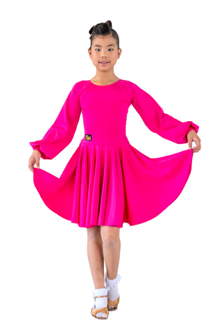Kids fuchsia latin dance dress | SM Dance Fashion