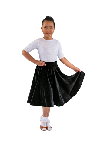 Girl's Black Velvet Dance Performance Dress | SM Dance Fashion