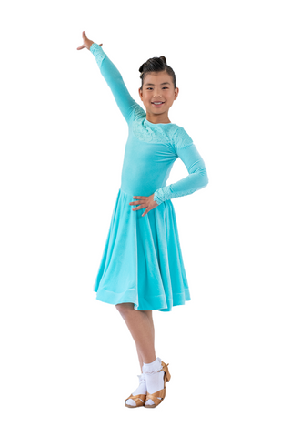 Princess Turquoise Velvet Ballroom & Latin Dress - Where to Buy Dancewear SM Dance Fashion Competition Outfit Costume