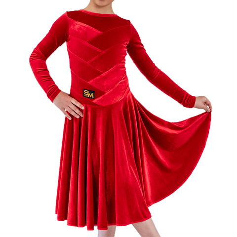 Princess Long Sleeves Red Velvet Dance Competition Dress - Where to Buy Dancewear SM Dance Fashion Competition Outfit Costume