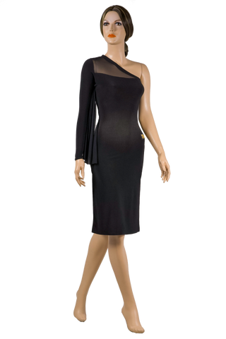 Asymmetrical One Sleeve Bodycon Dress-Front View | SM Dance Fashion