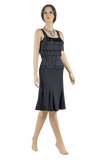 Layered Fringe Trumpet Latin & Rhythm Dress-Front View | SM Dance Fashion