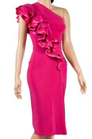 Single Shoulder Frill Bodycon Latin & Rhythm Dress-Front Close-up View | SM Dance Fashion