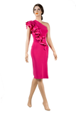 Single Shoulder Frill Bodycon Latin & Rhythm Dress-Front View | SM Dance Fashion