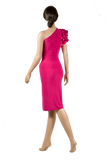Single Shoulder Frill Bodycon Latin & Rhythm Dress-Back View | SM Dance Fashion