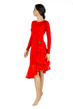 Long Sleeve Asymmetrical Flounce Latin & Rhythm Dress-Front Angled View | SM Dance Fashion
