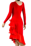 Long Sleeve Asymmetrical Flounce Latin & Rhythm Dress-Back Close-up View | SM Dance Fashion