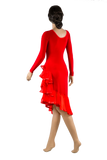 Long Sleeve Asymmetrical Flounce Latin & Rhythm Dress-Back View | SM Dance Fashion