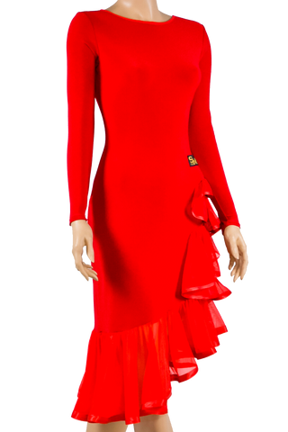 Long Sleeve Asymmetrical Flounce Latin & Rhythm Dress-Front Close-up View | SM Dance Fashion
