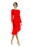 Long Sleeve Asymmetrical Flounce Latin & Rhythm Dress-Front View | SM Dance Fashion