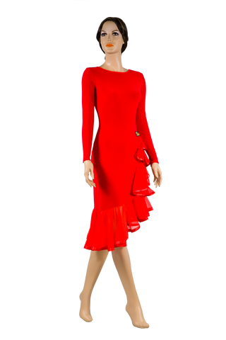 Long Sleeve Asymmetrical Flounce Latin & Rhythm Dress - Where to Buy Dancewear SM Dance Fashion Competition Outfit Costume