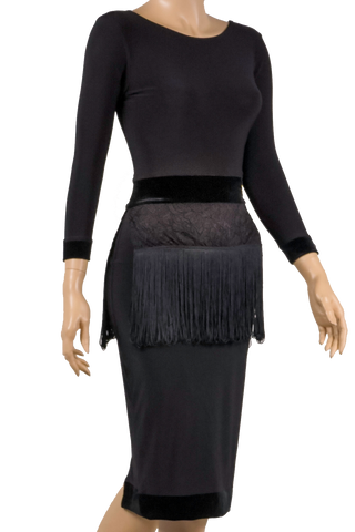 Long Sleeves Fringe Bodycon Latin & Rhythm Dress - Where to Buy Dancewear SM Dance Fashion Competition Outfit Costume