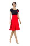 Bateau Neckline Short Sleeve Latin & Rhythm Dress-Front View | SM Dance Fashion
