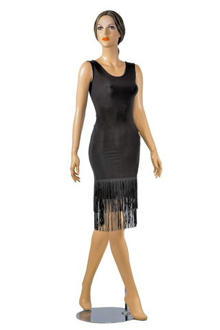 Sleeveless Pencil Layered Fringe Latin & Rhythm Dress - Where to Buy Dancewear SM Dance Fashion Competition Outfit Costume