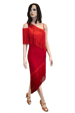 Asymmetrical Fringe Latin & Rhythm Dress - Where to Buy Dancewear SM Dance Fashion Competition Outfit Costume