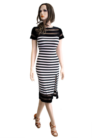 Black and White Striped Latin & Rhythm Pencil Dress - Where to Buy Dancewear SM Dance Fashion Competition Outfit Costume