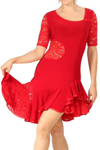 Asymmetrical Lace Red Latin & Rhythm Dress - Where to Buy Dancewear SM Dance Fashion Competition Outfit Costume