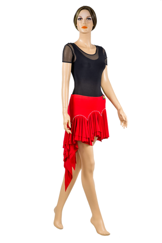 Rhinestone Asymmetrical Flounce Skirt-Front View | SM Dance Fashion