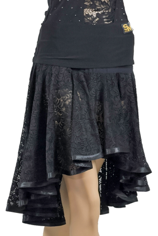 Circle Lace Latin & Rhythm Skirt-Front Bottom View | SM Dance Fashion