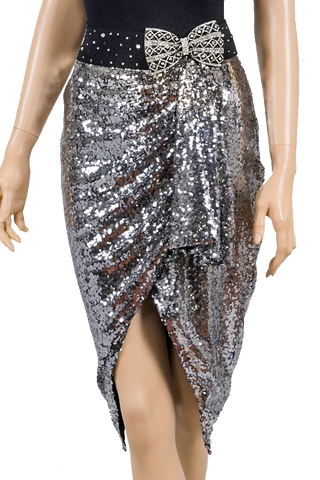 Silver Wrap Dance Latin Skirt-Front Bottom View | SM Dance Fashion