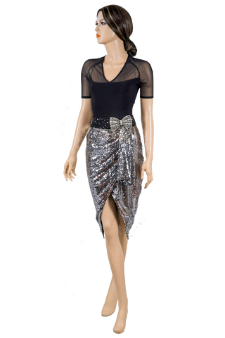 Silver Wrap Dance Latin Skirt-Front View | SM Dance Fashion
