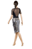 Silver Wrap Dance Latin Skirt - Where to Buy Dancewear SM Dance Fashion Competition Outfit Costume