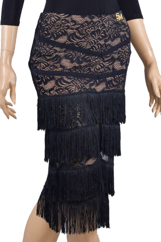 Tiered Fringe Lace Latin & Rhythm Skirt-Front Bottom View | SM Dance Fashion