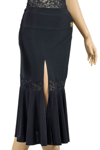 Lace Flounce Side Slit Latin & Smooth Skirt