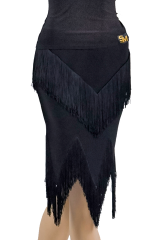 Cascading Layered Fringe Latin & Rhythm Skirt-Front Bottom View | SM Dance Fashion