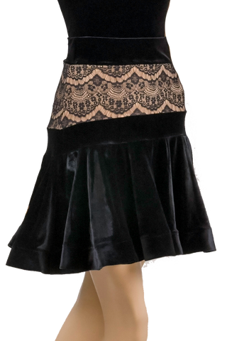 Flounce Lace Velour Latin & Rhythm Skirt-Front Bottom View | SM Dance Fashion