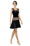 Flounce Lace Velour Latin & Rhythm Skirt-Front View | SM Dance Fashion