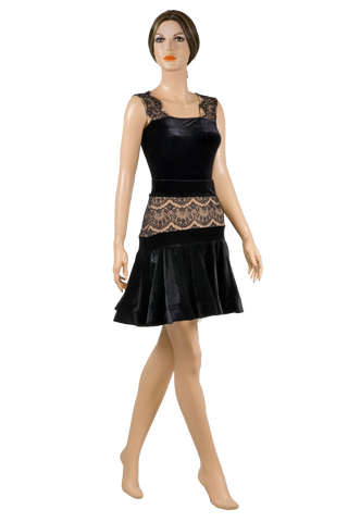 Flounce Lace Velour Latin & Rhythm Skirt