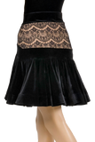 Flounce Lace Velour Latin & Rhythm Skirt-Back Bottom View | SM Dance Fashion
