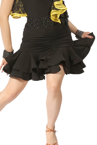 Drapped Double Flounce Latin & Rythm Skirt