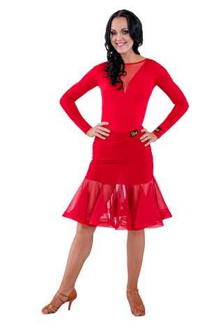 Red Bell Latin & Rhythm Skirt | SM Dance Fashion