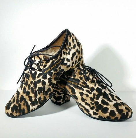 CROWN Dance Shoes Leopard Soft Practice Crown Dance Shoes-Front Angled View | SM Dance Fashion