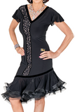 Asymmetrical Layered Flounce Latin & Rhythm Dress