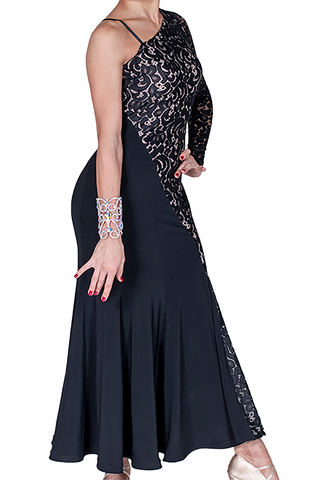 Asymmetrical Lace Embroidered Ballroom & Smooth Dress - Where to Buy Dancewear SM Dance Fashion Competition Outfit Costume