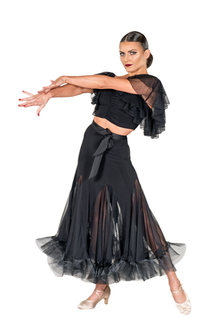 Godet Mesh Crinoline Ballroom & Smooth Skirt - Where to Buy Dancewear SM Dance Fashion Competition Outfit Costume