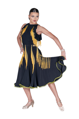 Fringe Trumpet Ballroom & Smooth Skirt - Where to Buy Dancewear SM Dance Fashion Competition Outfit Costume