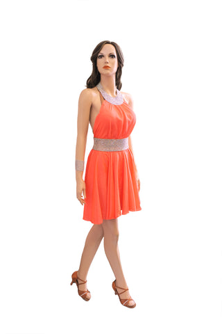 Orange Latin Competition Dress - Where to Buy Dancewear SM Dance Fashion Competition Outfit Costume