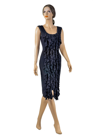Rhinestone Pencil Cascading Flounce Dress-Front View | SM Dance Fashion