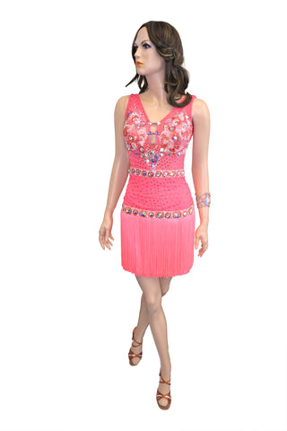 Pink Fringe Latin Competition Dress - Where to Buy Dancewear SM Dance Fashion Competition Outfit Costume