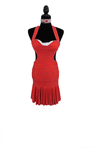 Red Halter Latin Competition Dress - Where to Buy Dancewear SM Dance Fashion Competition Outfit Costume