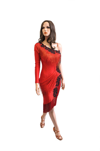 Red Latin Competition Dress - Where to Buy Dancewear SM Dance Fashion Competition Outfit Costume