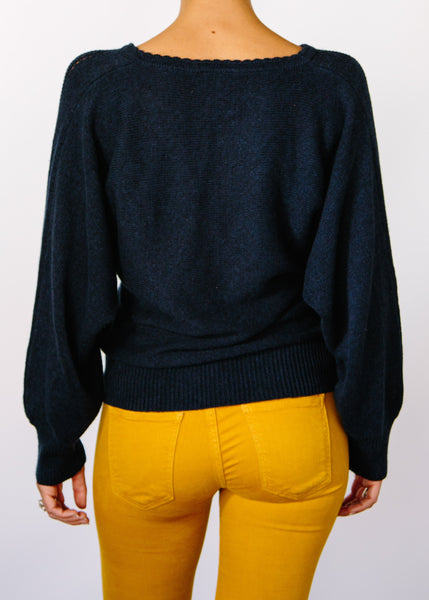 Opal Hemp + Organic Cotton Sweater in Navy.