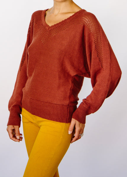 Opal Hemp + Organic Cotton Sweater in Rust.