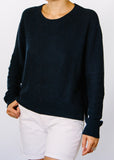 Wendy Crop Hemp + Organic Cotton Sweater in Navy.