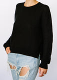 Wendy Crop Hemp + Organic Cotton Sweater in Black.
